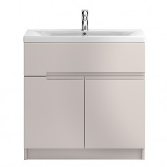 Urban Cashmere Floor Standing 800mm 2 Door, 1 Drawer Vanity Cabinet & Basin 2