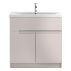 Urban 800mm Cashmere Floor Standing 2 Door, 1 Drawer Vanity Unit & Basin