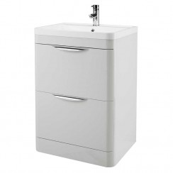 Nuie - Parade Gloss Grey Mist 600mm Floor Standing 2 Drawer Unit & Basin - FPA401