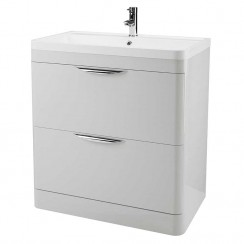 Parade Gloss Grey Mist 800mm Floor Standing 2 Drawer Unit & Basin