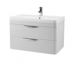 Parade Gloss Grey Mist 800mm Wall Hung 2 Drawer Unit & Basin
