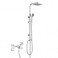 Munro Bath Shower Mixer Tap & Square 3 Way Rigid Riser