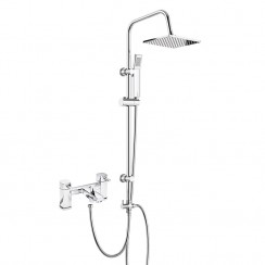 Hampton Bath Shower Mixer Tap with 3 Way Square Rigid Riser Rail Kit