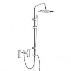 Hardy Bath Shower Mixer Tap with 3 Way Square Rigid Riser Rail Kit
