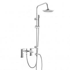 Hatton Bath Shower Mixer Tap with 3 Way Round Rigid Riser Rail Kit