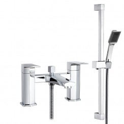 Hardy Bath Shower Mixer Tap with Square Slider Shower Rail Kit