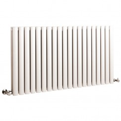 Hudson Revive Reed Double Panel Designer Radiator - High White Gloss - 635 x 1175mm