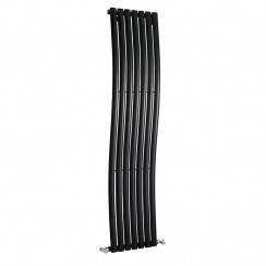 Revive Wave Designer Radiator - High Gloss Black - 1785 x 413mm