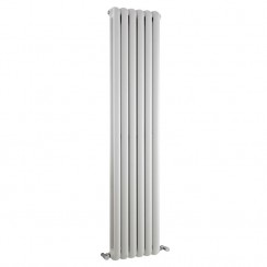 Salvia Double Panel Vertical Designer Radiator - High Gloss White - 1500 x 383mm