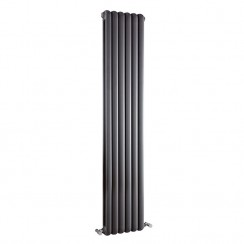 Salvia Double Panel  Vertical Designer Radiator - Anthracite -  1800 x 383mm