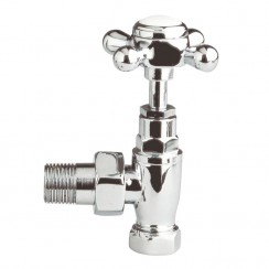 Chrome Cross Head Radiator Valve Pack Angled (pair)