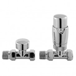 Chrome Luxury Straight Thermostatic Radiator Valves (pair)