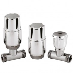 Chrome Thermostatic Radiator Valve Pack Straight (pair)