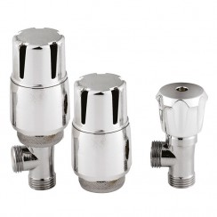 Chrome Thermostatic Radiator Valve Pack Angled (pair)