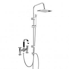 Hudson Bath Shower Mixer Tap with 3 Way Round Rigid Riser Rail Kit