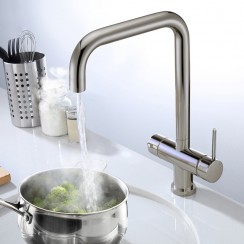 Brushed Steel Lisbon 3 in 1 Instant Hot Water Kitchen Tap Lifestyle