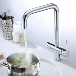 Chrome Lisbon 3 in 1 Instant Hot Water Kitchen Tap & Filter Lifestyle