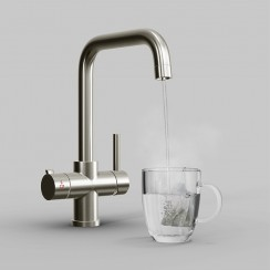Brushed Nickel Lisbon 3 in 1 Instant Hot Water Kitchen Tap & Filter