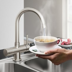 Brushed Steel Soho 4 in 1 Instant Hot Water Kitchen Tap