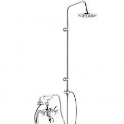 Jade Bath Shower Mixer Tap with 3 Way Round Rigid Riser Rail Kit