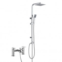 Jasmine Bath Shower Mixer Tap with 3 Way Round Rigid Riser Rail Kit
