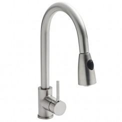 Pull-Out Kitchen Mixer Tap Brushed Steel