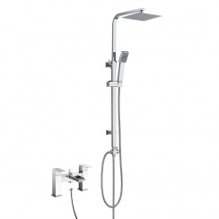 Kensington Bath Shower Mixer Tap with 3 Way Square Rigid Riser Rail Kit