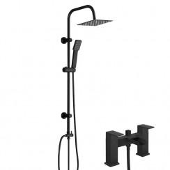 Kensington Matt Black Modern Square Waterfall Bath Shower Mixer Tap & 3 Way Square Rigid Riser Rail Kit