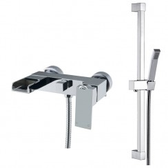 Kensington Wall Mounted Bath Shower Mixer Tap & Rail Kit
