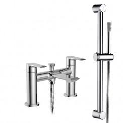 Limit Bath Shower Mixer Tap with Round Slider Shower Rail Kit
