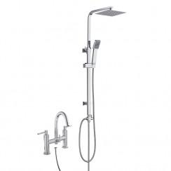 Lisbon Bath Shower Mixer Tap with 3 Way Round Rigid Riser Rail Kit