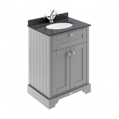 Old London Storm Grey Traditional 600mm Cabinet With Black Marble Basin Top 1TH