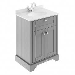 Old London Storm Grey Traditional 600mm Cabinet With White Marble Basin Top 1TH