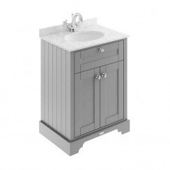 Old London Storm Grey Traditional 600mm Cabinet With Grey Marble Basin Top 1TH