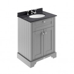 Old London Storm Grey Traditional 600mm Cabinet With Black Marble Basin Top 3TH