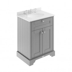 Old London Storm Grey Traditional 600mm Cabinet With White Marble Basin Top 3TH