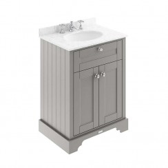 Old London Storm Grey Traditional 600mm Cabinet With Grey Marble Basin Top 3TH