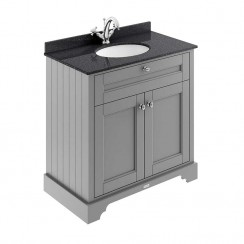 Old London Storm Grey Traditional 800mm Cabinet With Black Marble Basin Top 1TH