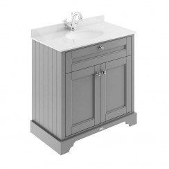 Old London Storm Grey Traditional 800mm Cabinet With White Marble Basin Top 1TH