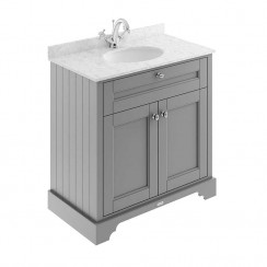 Old London Storm Grey Traditional 800mm Cabinet With Grey Marble Basin Top 1TH