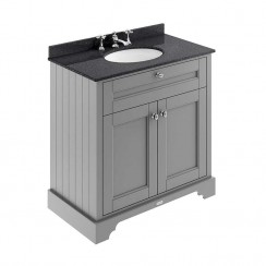 Old London Storm Grey Traditional 800mm Cabinet With Black Marble Basin Top 3TH