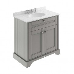 Old London Storm Grey Traditional 800mm Cabinet With Grey Marble Basin Top 3TH