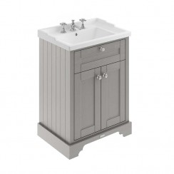 Old London Storm Grey Traditional 600mm Cabinet With Ceramic Basin 3TH