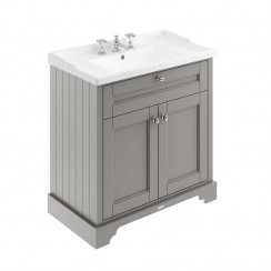 Old London Storm Grey Traditional 800mm Cabinet With Ceramic Basin 3TH