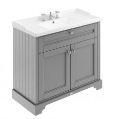 Old London Storm Grey Traditional 1000mm Cabinet With Ceramic Basin 3TH