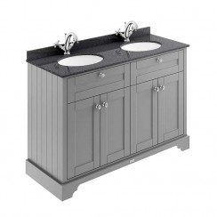 Old London Storm Grey Traditional 1200mm Cabinet With Black Marble Double Basin Top 1TH