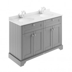 Old London Storm Grey Traditional 1200mm Cabinet With White Marble Double Basin Top 1TH