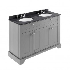 Old London Storm Grey Traditional 1200mm Cabinet With Black Marble Double Basin Top 3TH