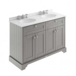Old London Storm Grey Traditional 1200mm Cabinet With Grey Marble Double Basin Top 3TH
