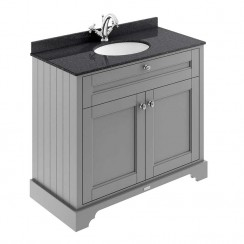 Old London Storm Grey Traditional 1000mm Cabinet With Black Marble Basin Top 1TH